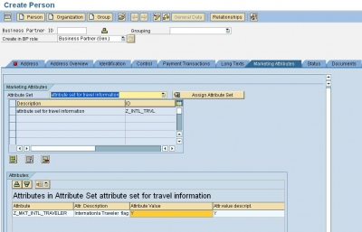 SAP CRM Marketing Attributes Assigning the attributes to the BP